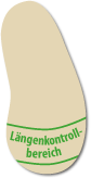 Der integrierte Längenkontrollbereich von Däumling-Kinderschuhen