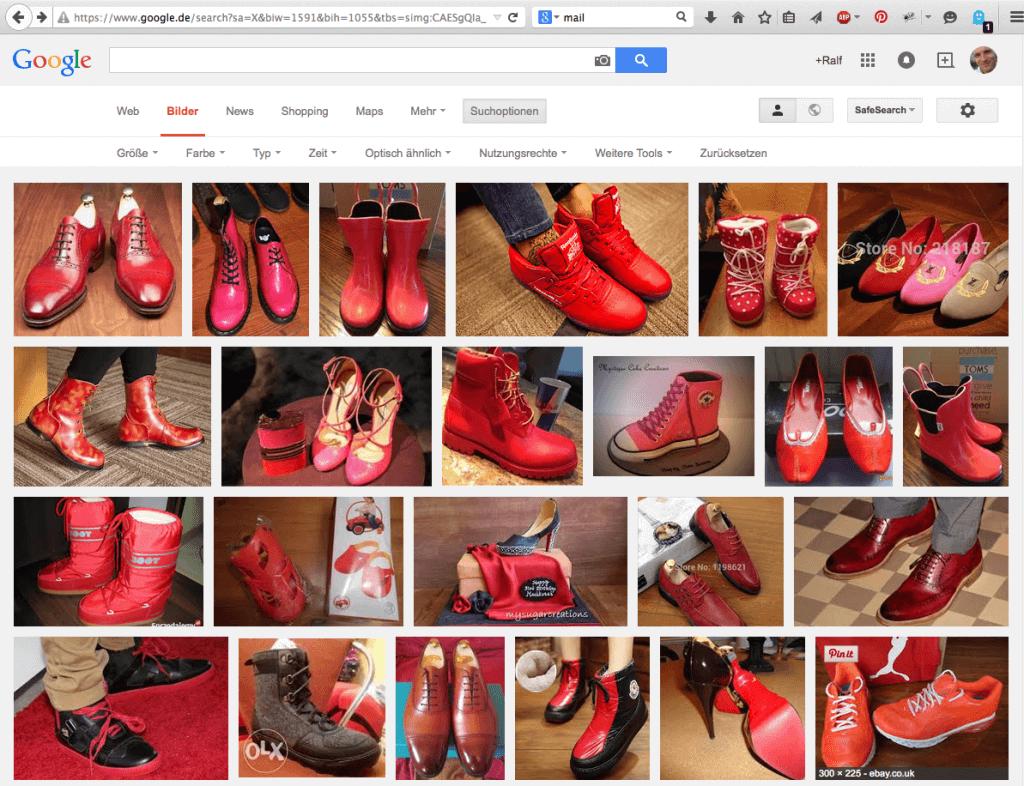 Google Bildersuche nach roten Kinderschuhen