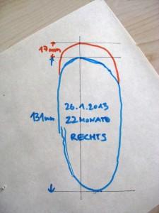 Die Schablone wird mit Datum, Alter und Maßen versehen.