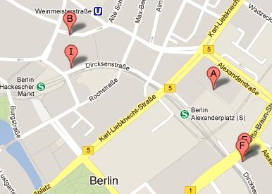 Kartenansicht, auf der Kinderschuhläden in Berlin-Mitte markiert sind